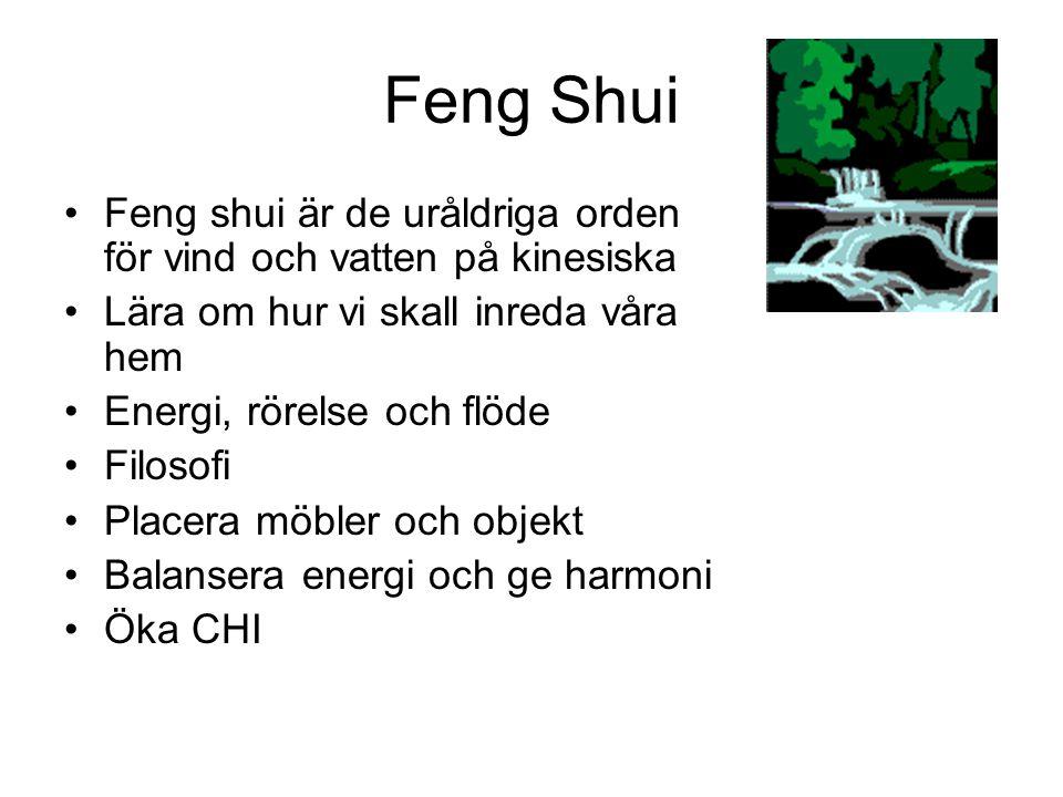 Feng Shui •Feng shui är de uråldriga orden för vind och vatten på kinesiska •Lära om hur vi skall inreda våra hem •Energi, rörelse och flöde •Filosofi