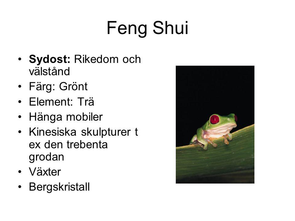Feng Shui •Sydost: Rikedom och välstånd •Färg: Grönt •Element: Trä •Hänga mobiler •Kinesiska skulpturer t ex den trebenta grodan •Växter •Bergskristal
