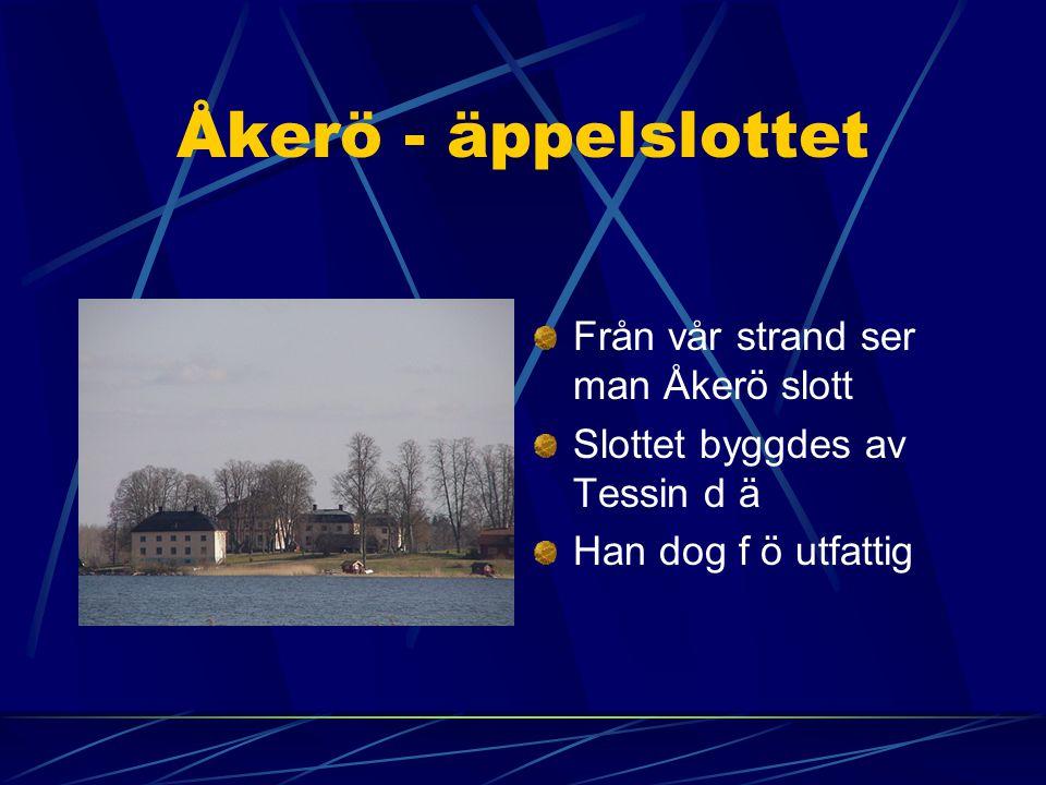 Åkerö - äppelslottet Från vår strand ser man Åkerö slott Slottet byggdes av Tessin d ä Han dog f ö utfattig