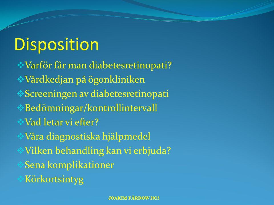 Disposition  Varför får man diabetesretinopati?  Vårdkedjan på ögonkliniken  Screeningen av diabetesretinopati  Bedömningar/kontrollintervall  Va