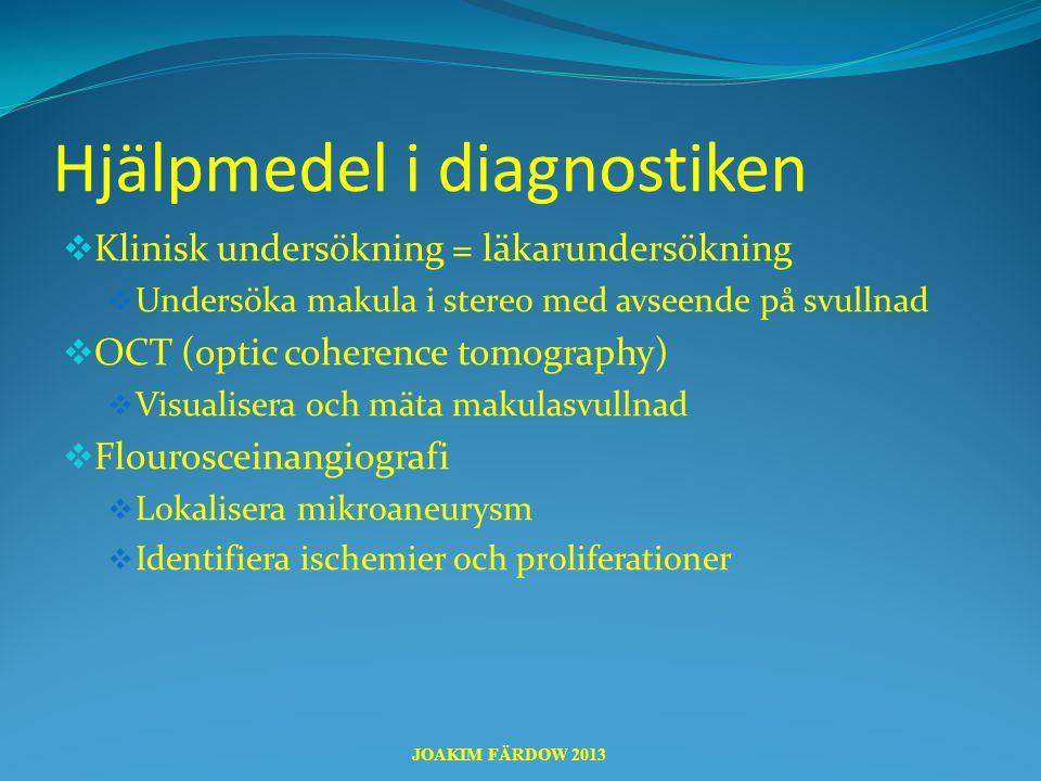 Hjälpmedel i diagnostiken  Klinisk undersökning = läkarundersökning  Undersöka makula i stereo med avseende på svullnad  OCT (optic coherence tomog