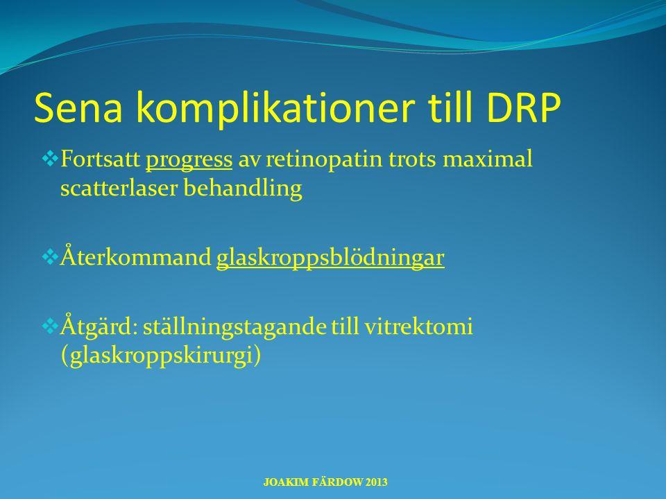 Sena komplikationer till DRP  Fortsatt progress av retinopatin trots maximal scatterlaser behandling  Återkommand glaskroppsblödningar  Åtgärd: stä