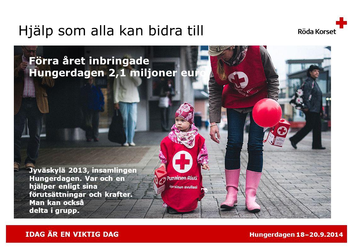 IDAG ÄR EN VIKTIG DAG Hungerdagen 18–20.9.2014 Hjälp som alla kan bidra till Jyväskylä 2013, insamlingen Hungerdagen.