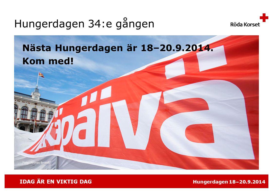 IDAG ÄR EN VIKTIG DAG Hungerdagen 18–20.9.2014 Hungerdagen 34:e gången Nästa Hungerdagen är 18–20.9.2014.