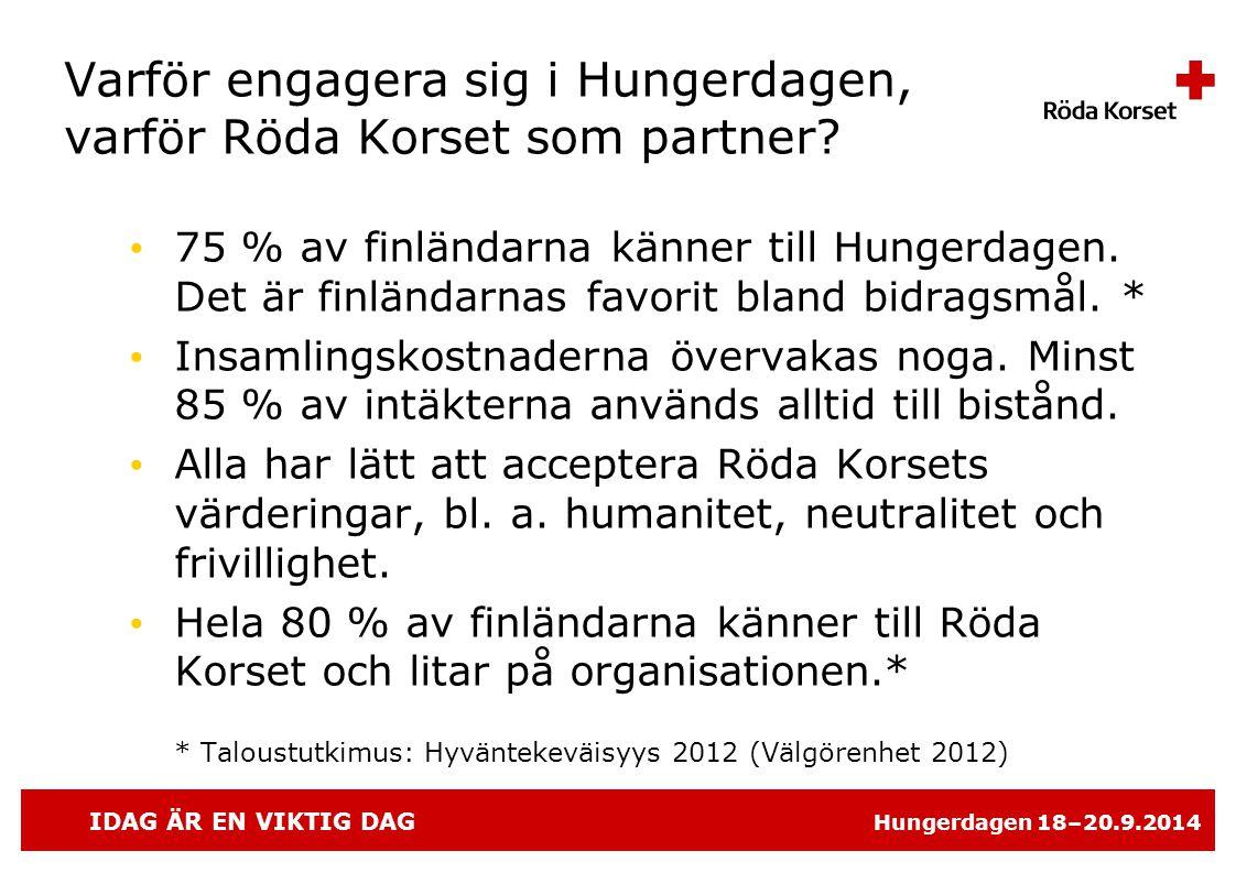 IDAG ÄR EN VIKTIG DAG Hungerdagen 18–20.9.2014 Varför engagera sig i Hungerdagen, varför Röda Korset som partner.