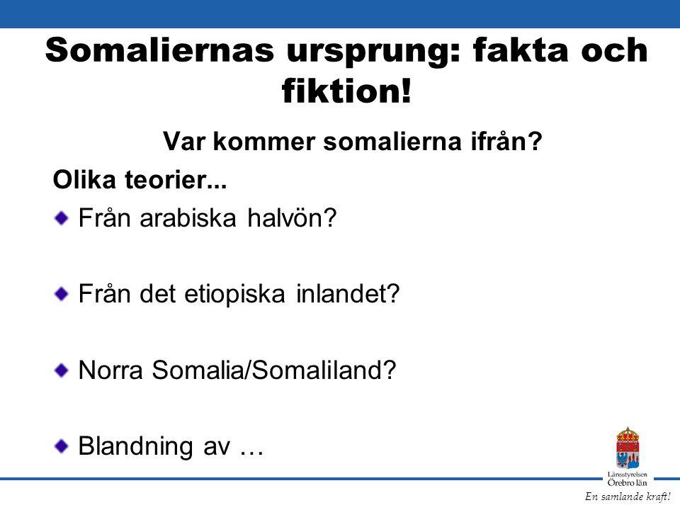 En samlande kraft! Somaliernas ursprung: fakta och fiktion! Var kommer somalierna ifrån? Olika teorier... Från arabiska halvön? Från det etiopiska inl