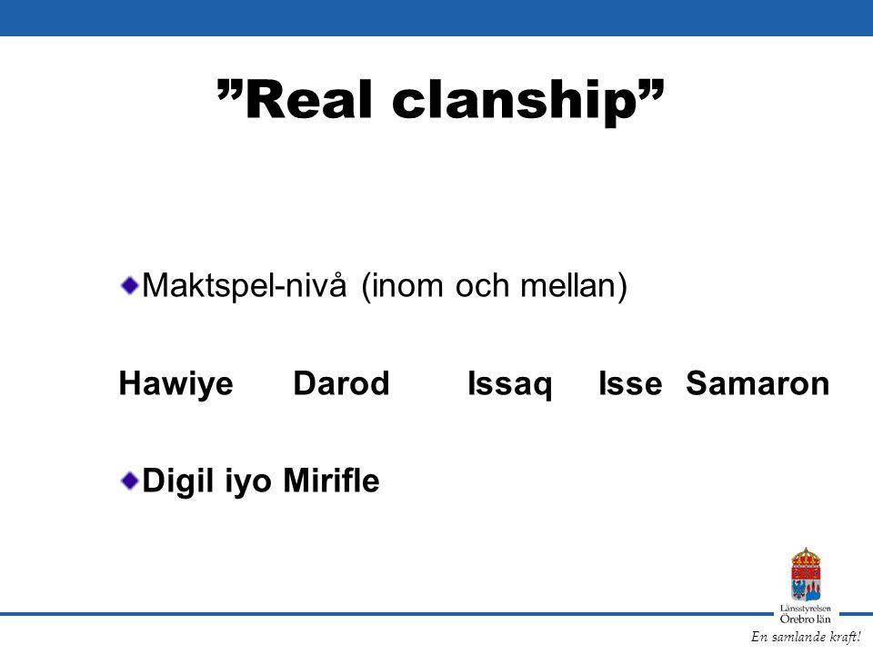 """En samlande kraft! """"Real clanship"""" Maktspel-nivå (inom och mellan) HawiyeDarodIssaqIsse Samaron Digil iyo Mirifle"""