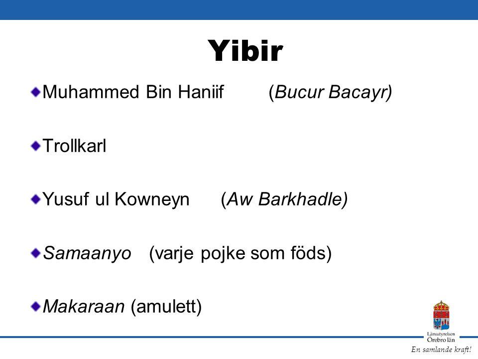 En samlande kraft! Yibir Muhammed Bin Haniif(Bucur Bacayr) Trollkarl Yusuf ul Kowneyn (Aw Barkhadle) Samaanyo (varje pojke som föds) Makaraan (amulett