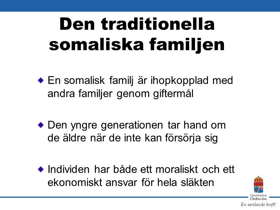 En samlande kraft! Den traditionella somaliska familjen En somalisk familj är ihopkopplad med andra familjer genom giftermål Den yngre generationen ta