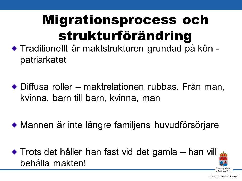 En samlande kraft! Migrationsprocess och strukturförändring Traditionellt är maktstrukturen grundad på kön - patriarkatet Diffusa roller – maktrelatio