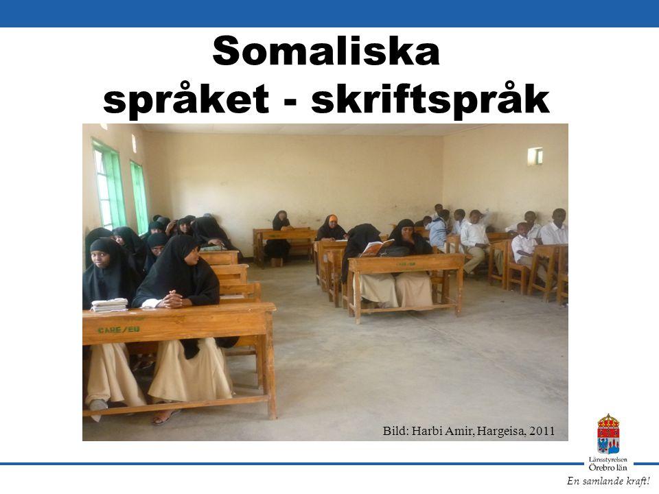 En samlande kraft! Somaliska språket - skriftspråk Bild: Harbi Amir, Hargeisa, 2011