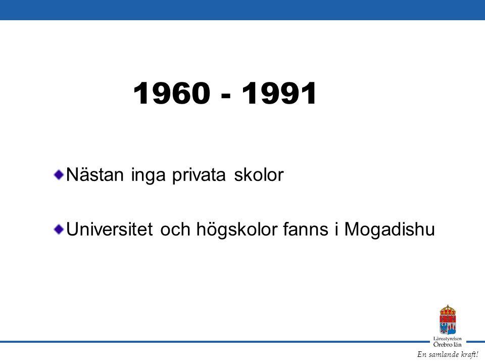 En samlande kraft! 1960 - 1991 Nästan inga privata skolor Universitet och högskolor fanns i Mogadishu