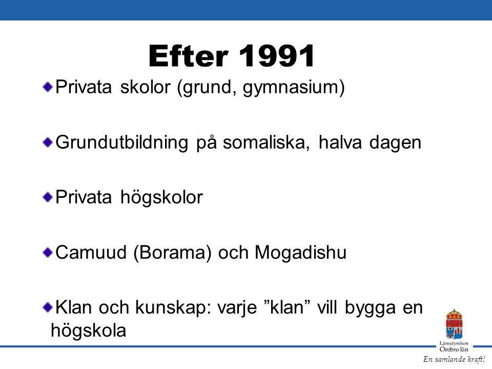 En samlande kraft! Efter 1991 Privata skolor (grund, gymnasium) Grundutbildning på somaliska, halva dagen Privata högskolor Camuud (Borama) och Mogadi