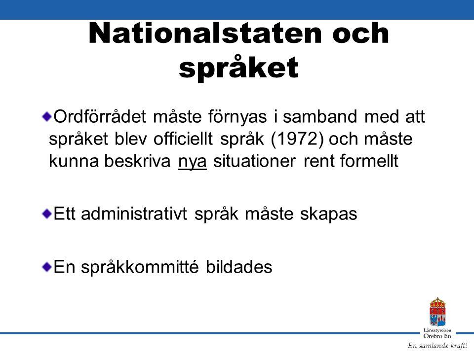 En samlande kraft! Nationalstaten och språket Ordförrådet måste förnyas i samband med att språket blev officiellt språk (1972) och måste kunna beskriv