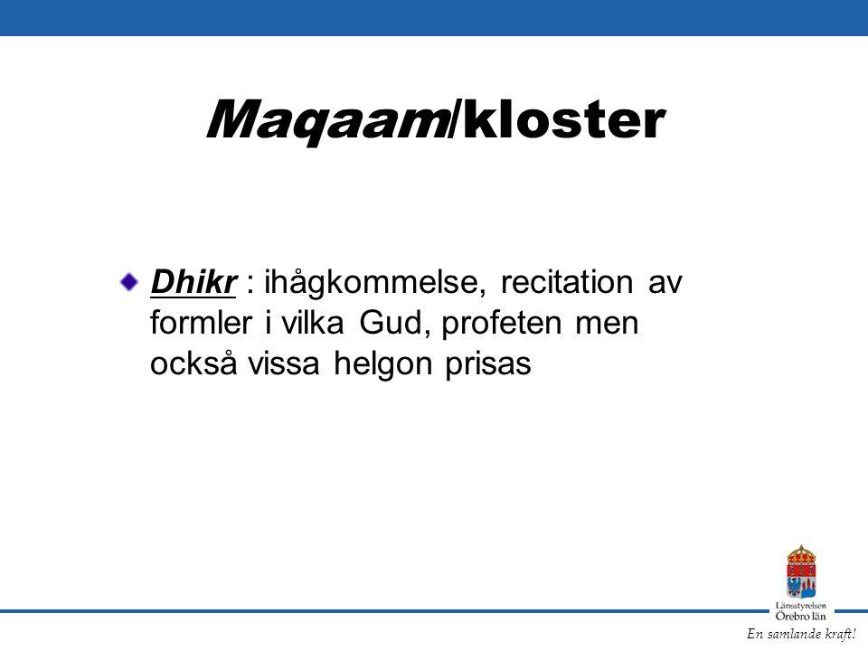 En samlande kraft! Maqaam/kloster Dhikr : ihågkommelse, recitation av formler i vilka Gud, profeten men också vissa helgon prisas