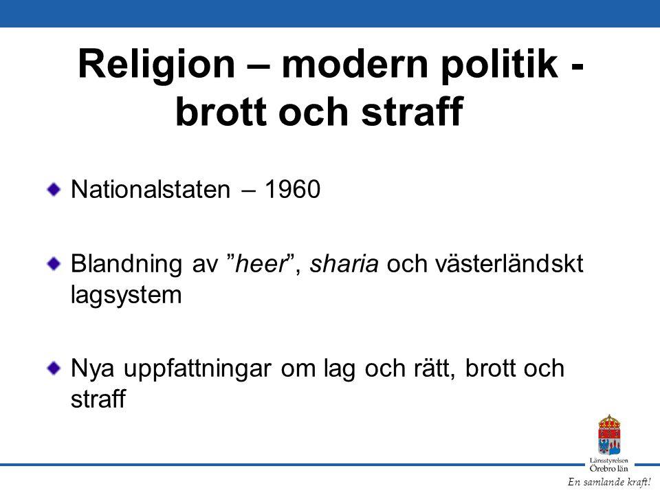 """En samlande kraft! Religion – modern politik - brott och straff Nationalstaten – 1960 Blandning av """"heer"""", sharia och västerländskt lagsystem Nya uppf"""