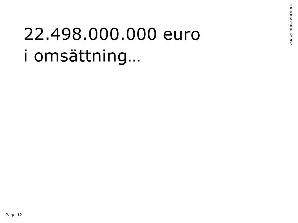 Page 12 © Inter IKEA Systems B.V. 2009 22.498.000.000 euro i omsättning…