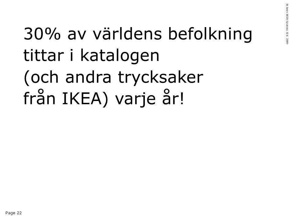 Page 22 © Inter IKEA Systems B.V. 2009 30% av världens befolkning tittar i katalogen (och andra trycksaker från IKEA) varje år!