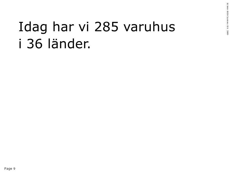 Page 9 © Inter IKEA Systems B.V. 2009 Idag har vi 285 varuhus i 36 länder.