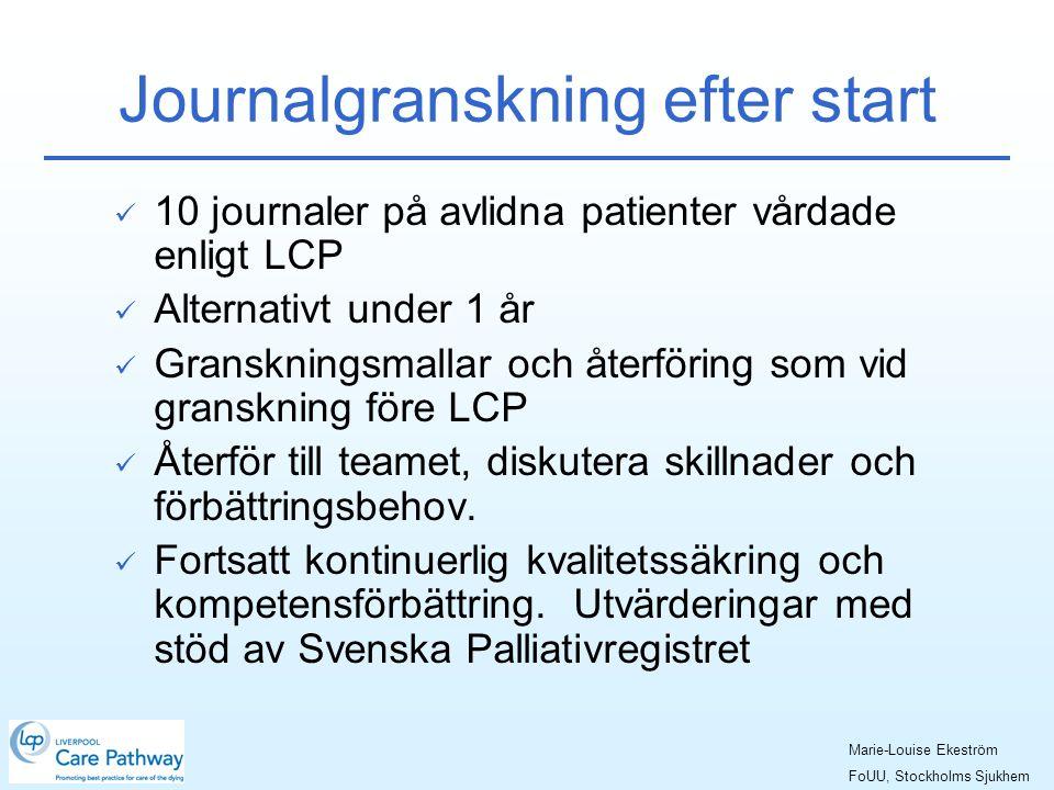 Journalgranskning efter start  10 journaler på avlidna patienter vårdade enligt LCP  Alternativt under 1 år  Granskningsmallar och återföring som vid granskning före LCP  Återför till teamet, diskutera skillnader och förbättringsbehov.