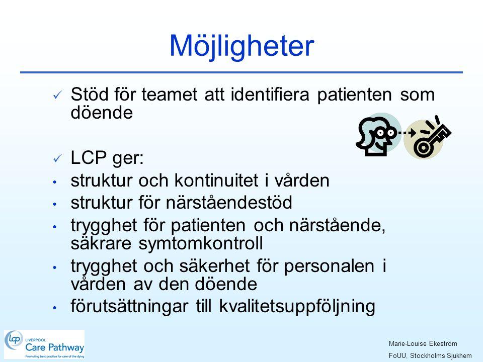 Möjligheter  Stöd för teamet att identifiera patienten som döende  LCP ger: • struktur och kontinuitet i vården • struktur för närståendestöd • trygghet för patienten och närstående, säkrare symtomkontroll • trygghet och säkerhet för personalen i vården av den döende • förutsättningar till kvalitetsuppföljning Marie-Louise Ekeström FoUU, Stockholms Sjukhem