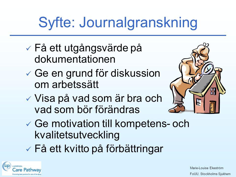 Syfte: Journalgranskning  Få ett utgångsvärde på dokumentationen  Ge en grund för diskussion om arbetssätt  Visa på vad som är bra och vad som bör förändras  Ge motivation till kompetens- och kvalitetsutveckling  Få ett kvitto på förbättringar Marie-Louise Ekeström FoUU, Stockholms Sjukhem
