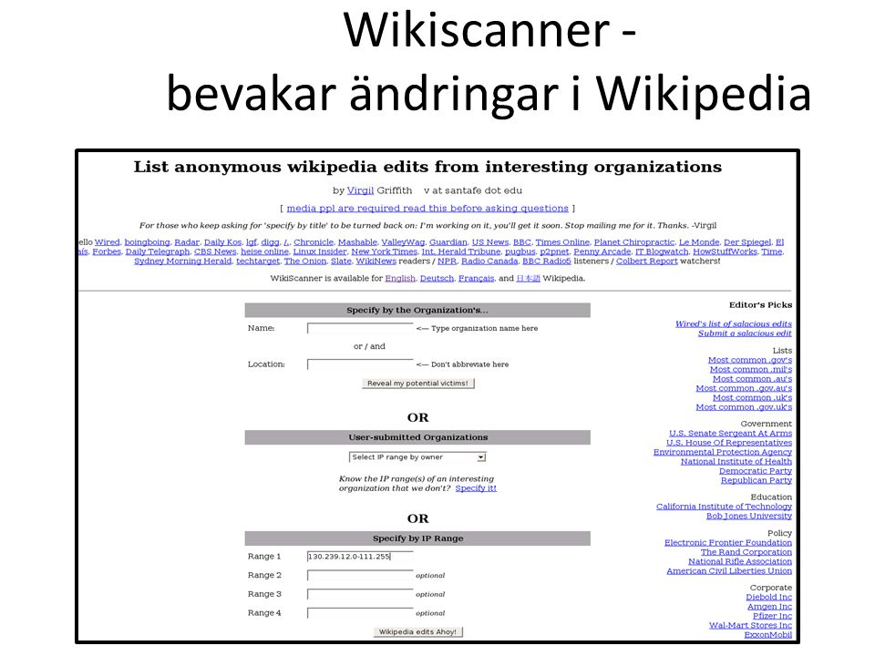 Wikiscanner - bevakar ändringar i Wikipedia