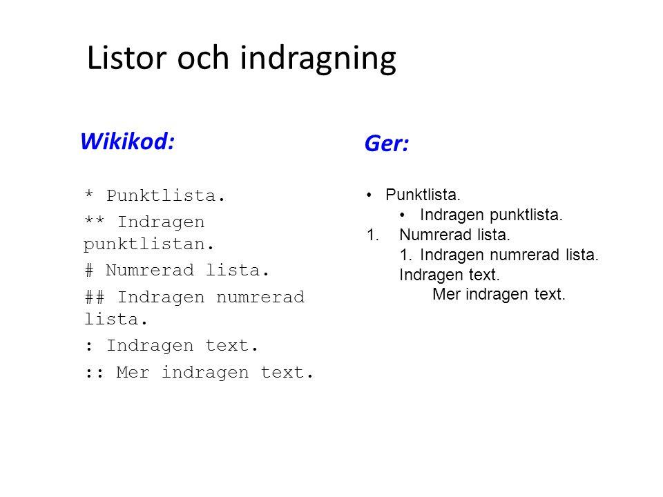 Listor och indragning * Punktlista. ** Indragen punktlistan. # Numrerad lista. ## Indragen numrerad lista. : Indragen text. :: Mer indragen text. • Pu