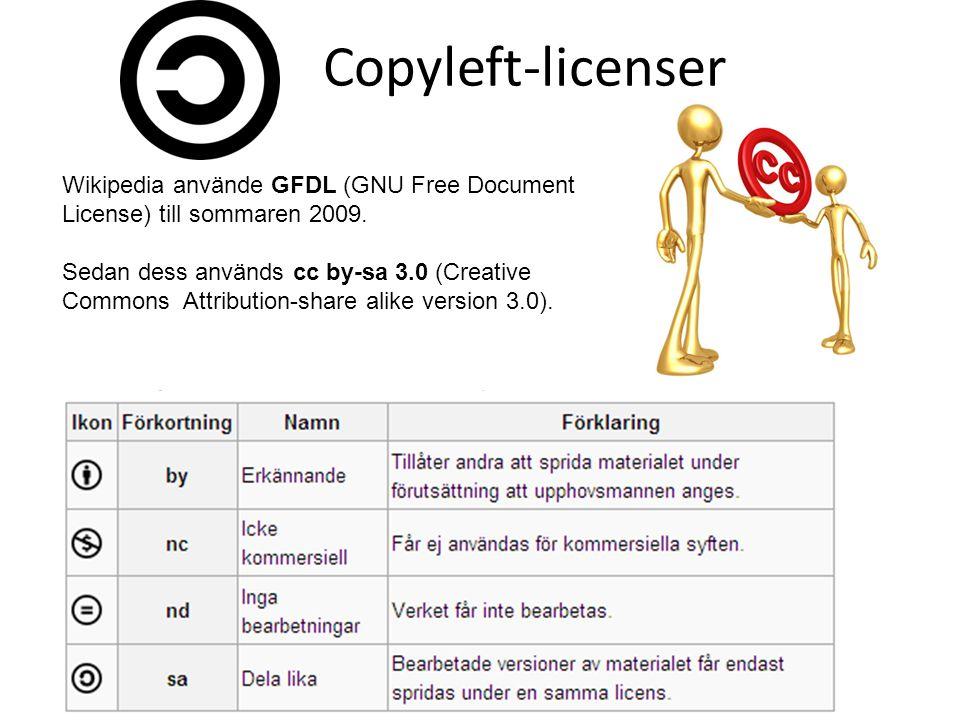 Copyleft-licenser Wikipedia använde GFDL (GNU Free Document License) till sommaren 2009. Sedan dess används cc by-sa 3.0 (Creative Commons Attribution