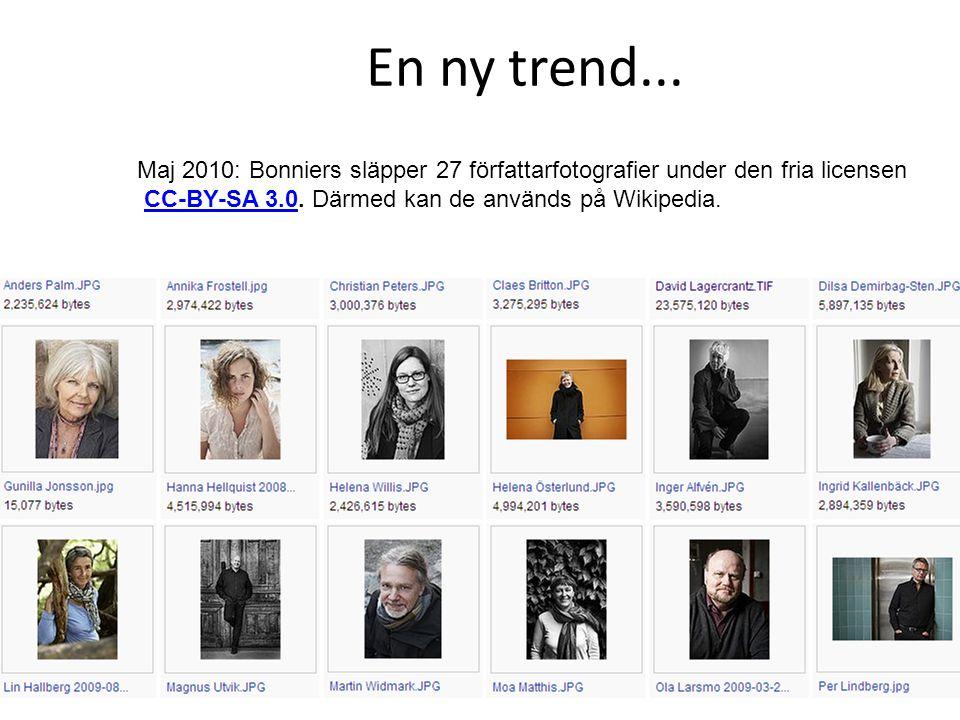 En ny trend... Maj 2010: Bonniers släpper 27 författarfotografier under den fria licensen CC-BY-SA 3.0. Därmed kan de används på Wikipedia.CC-BY-SA 3.