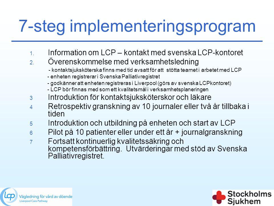 7-steg implementeringsprogram 1. Information om LCP – kontakt med svenska LCP-kontoret 2. Överenskommelse med verksamhetsledning - kontaktsjukskötersk