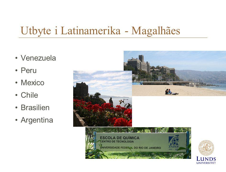 Utbyte i Latinamerika - Magalhães •Venezuela •Peru •Mexico •Chile •Brasilien •Argentina