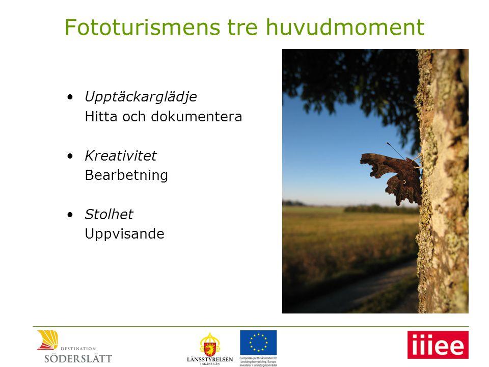 Fototurismens tre huvudmoment •Upptäckarglädje Hitta och dokumentera •Kreativitet Bearbetning •Stolhet Uppvisande