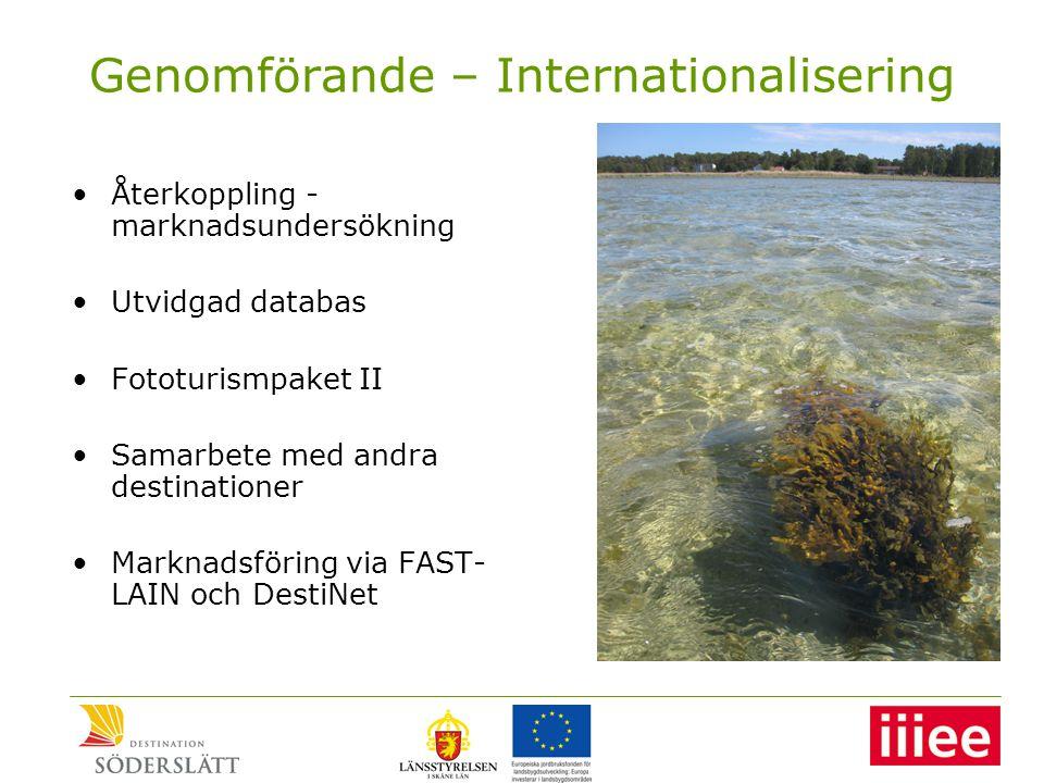 Genomförande – Internationalisering •Återkoppling - marknadsundersökning •Utvidgad databas •Fototurismpaket II •Samarbete med andra destinationer •Marknadsföring via FAST- LAIN och DestiNet
