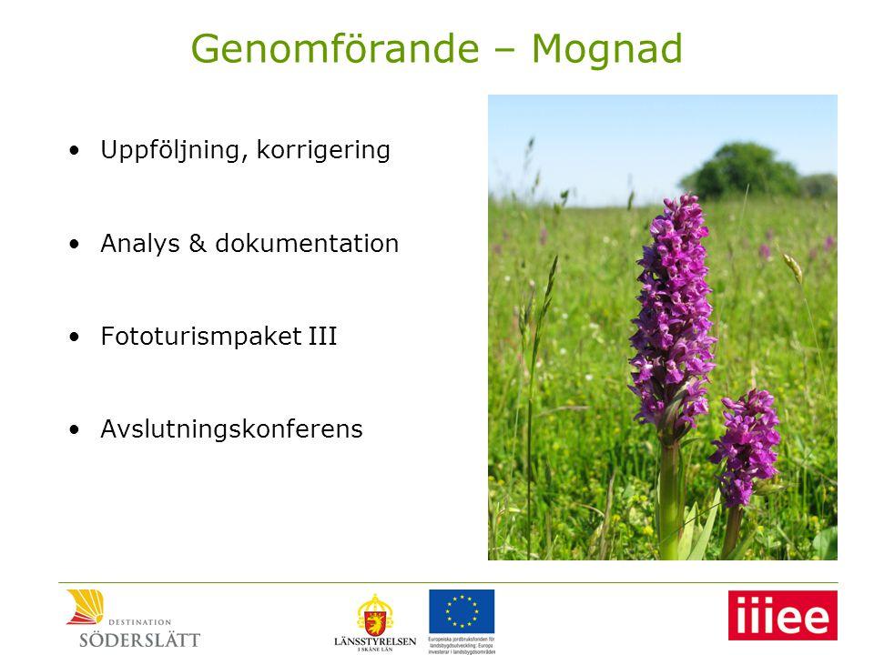 Genomförande – Mognad •Uppföljning, korrigering •Analys & dokumentation •Fototurismpaket III •Avslutningskonferens