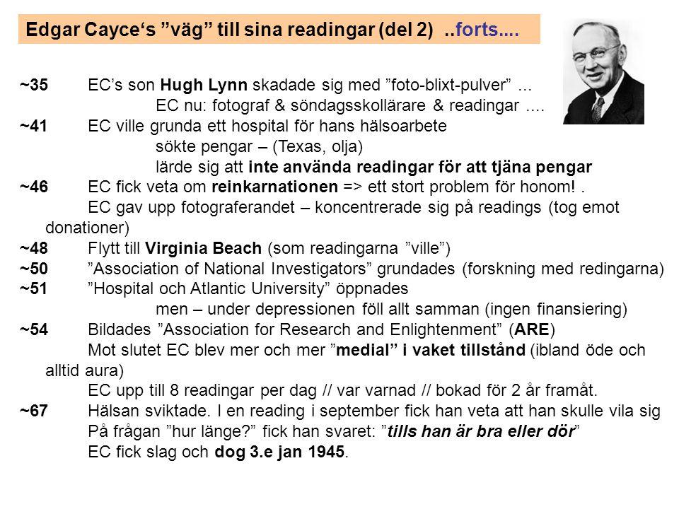 """Edgar Cayce's """"väg"""" till sina readingar (del 2)..forts.... ~35EC's son Hugh Lynn skadade sig med """"foto-blixt-pulver""""... EC nu: fotograf & söndagsskoll"""