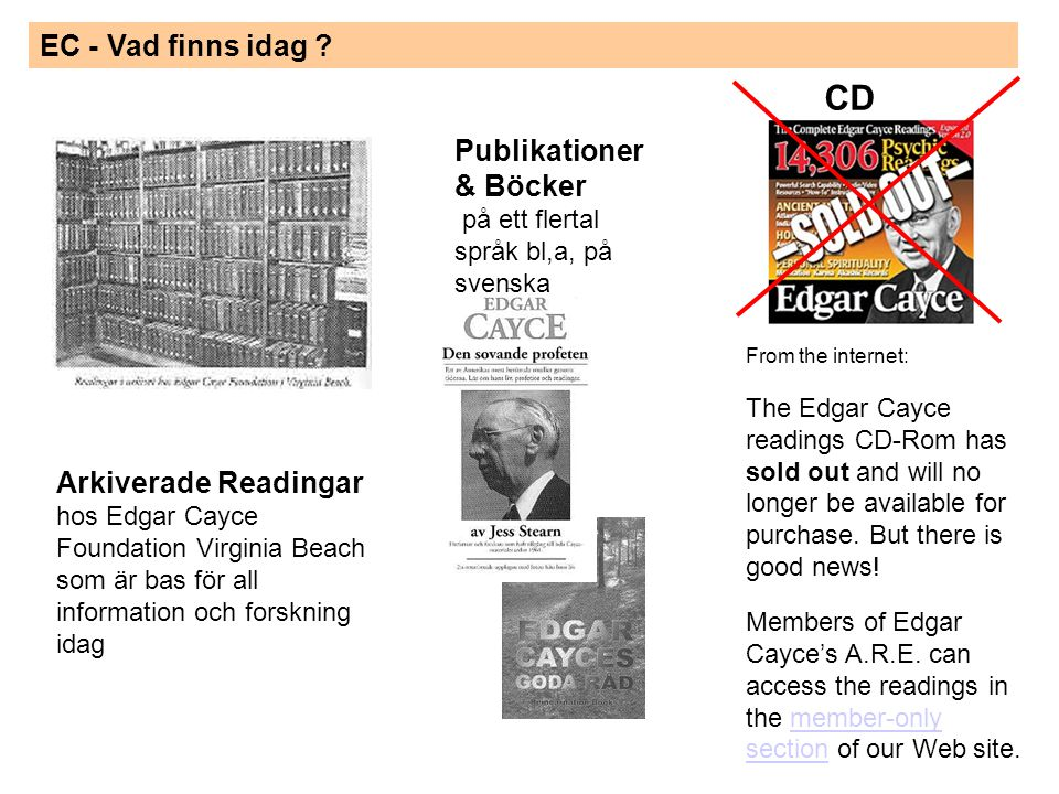 EC - Vad finns idag ? From the internet: The Edgar Cayce readings CD-Rom has sold out and will no longer be available for purchase. But there is good
