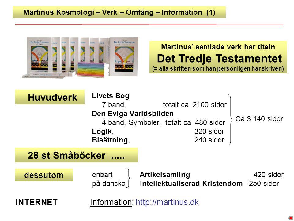 Martinus Kosmologi – Verk – Omfång – Information (1) Livets Bog 7 band, totalt ca 2100 sidor Den Eviga Världsbilden 4 band, Symboler, totalt ca 480 si