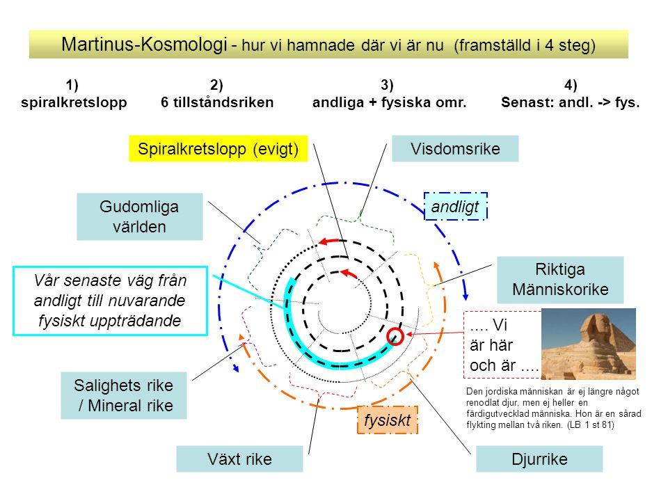 Martinus-Kosmologi - hur vi hamnade där vi är nu (framställd i 4 steg) Salighets rike / Mineral rike Gudomliga världen Växt rike Djurrike Riktiga Männ