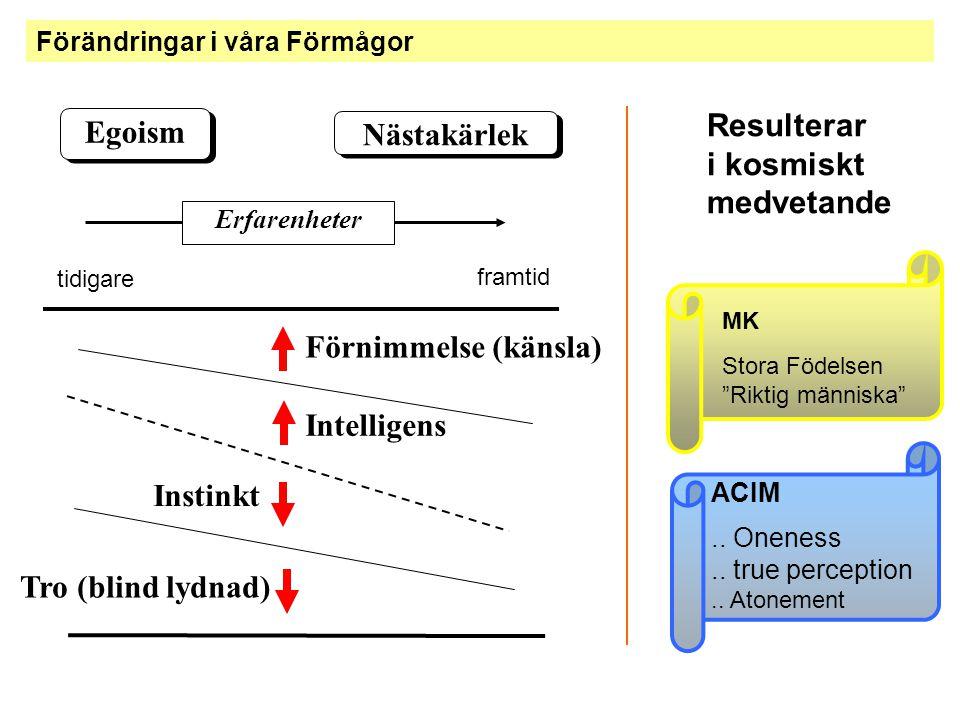 Förändringar i våra Förmågor Egoism Nästakärlek Intelligens Förnimmelse (känsla) Tro (blind lydnad) Erfarenheter Instinkt Resulterar i kosmiskt medvet