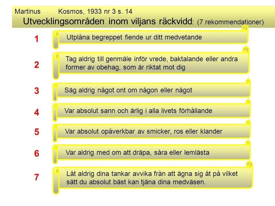 Martinus Kosmos, 1933 nr 3 s. 14 Utvecklingsområden inom viljans räckvidd : (7 rekommendationer) Utplåna begreppet fiende ur ditt medvetande Säg aldri