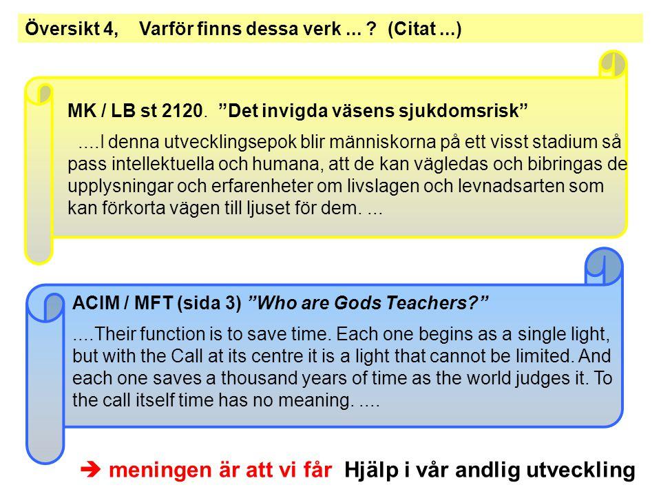ACIM – Verk – Omfång - Information ACIM består av tre (huvud-) böcker -TEXT-book..622 sidor -WORK-book ( Arbetsbok )..478 sidor -MANUAL for Teachers ( ..för Lärare)..88 sidor ACIM nedskrivning: 1965 - 1972 slut editering: 1973 - 1975 Dessutom finns det några mindre skrifter - Psychotherapy: Purpose, Process and Practice - The Song of Prayer - The Gifts of God (dikter, publ.