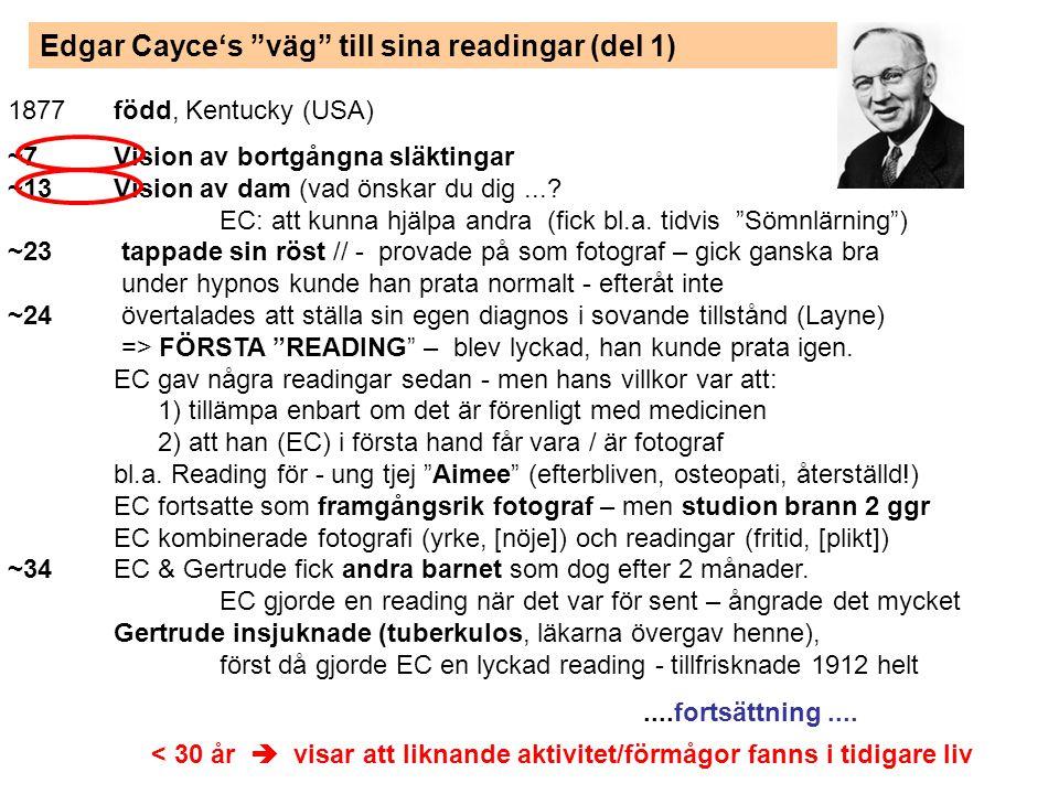 Edgar Cayce's väg till sina readingar (del 2)..forts....