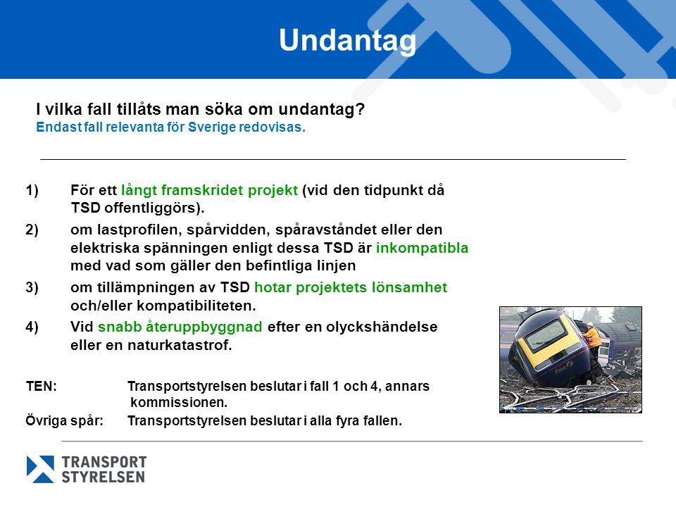 Undantag I vilka fall tillåts man söka om undantag? Endast fall relevanta för Sverige redovisas. 1)För ett långt framskridet projekt (vid den tidpunkt