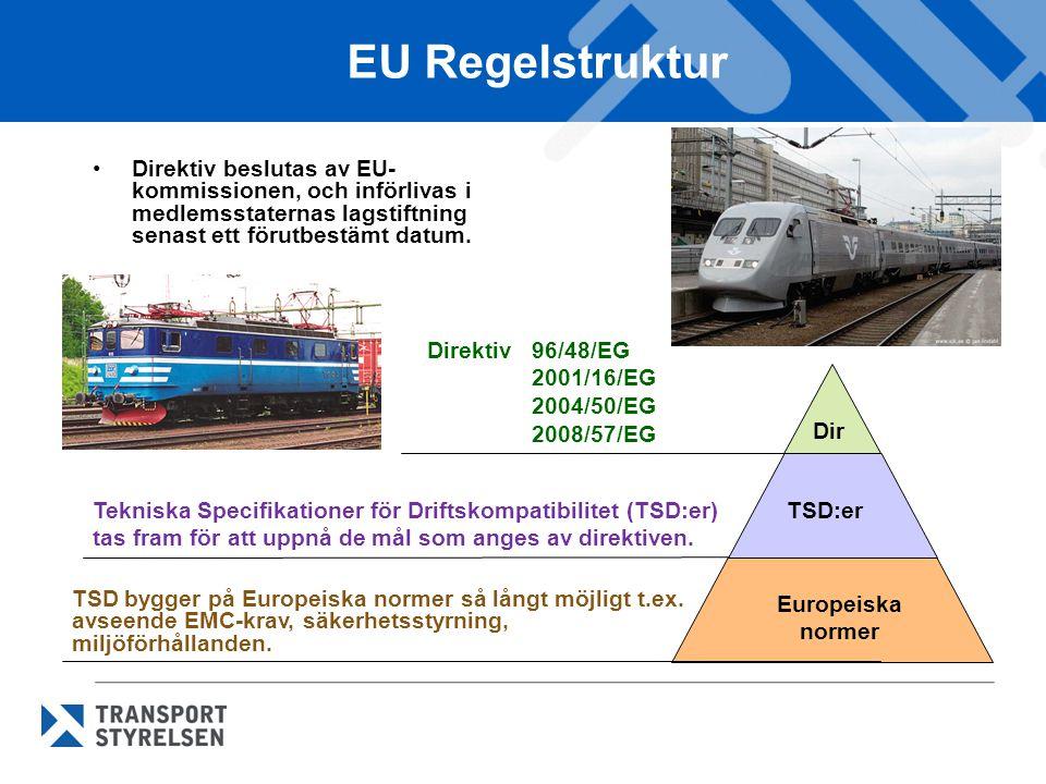 EU Regelstruktur •Direktiv beslutas av EU- kommissionen, och införlivas i medlemsstaternas lagstiftning senast ett förutbestämt datum. Direktiv 96/48/