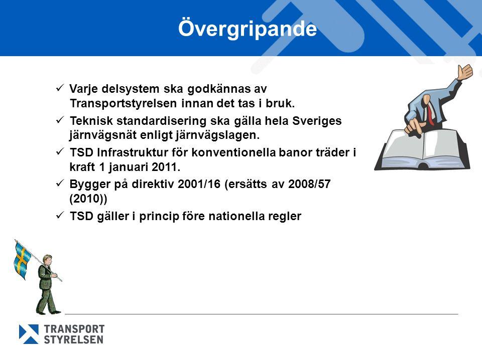Övergripande  Varje delsystem ska godkännas av Transportstyrelsen innan det tas i bruk.  Teknisk standardisering ska gälla hela Sveriges järnvägsnät