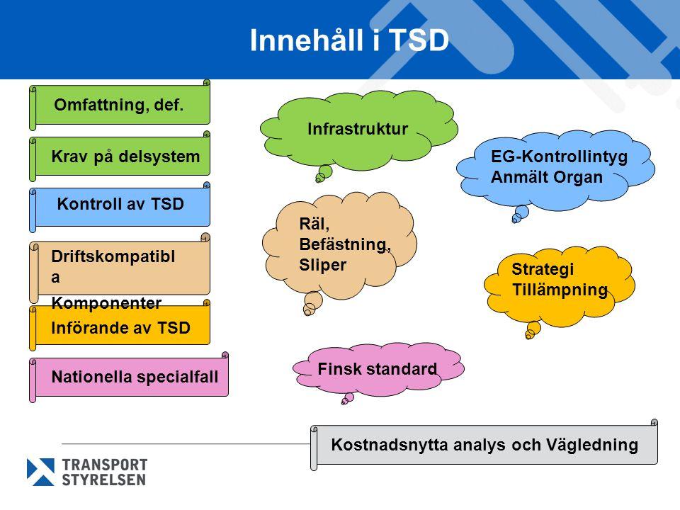 Innehåll i TSD Omfattning, def. Krav på delsystem Nationella specialfall Införande av TSD Kontroll av TSD Driftskompatibl a Komponenter Kostnadsnytta