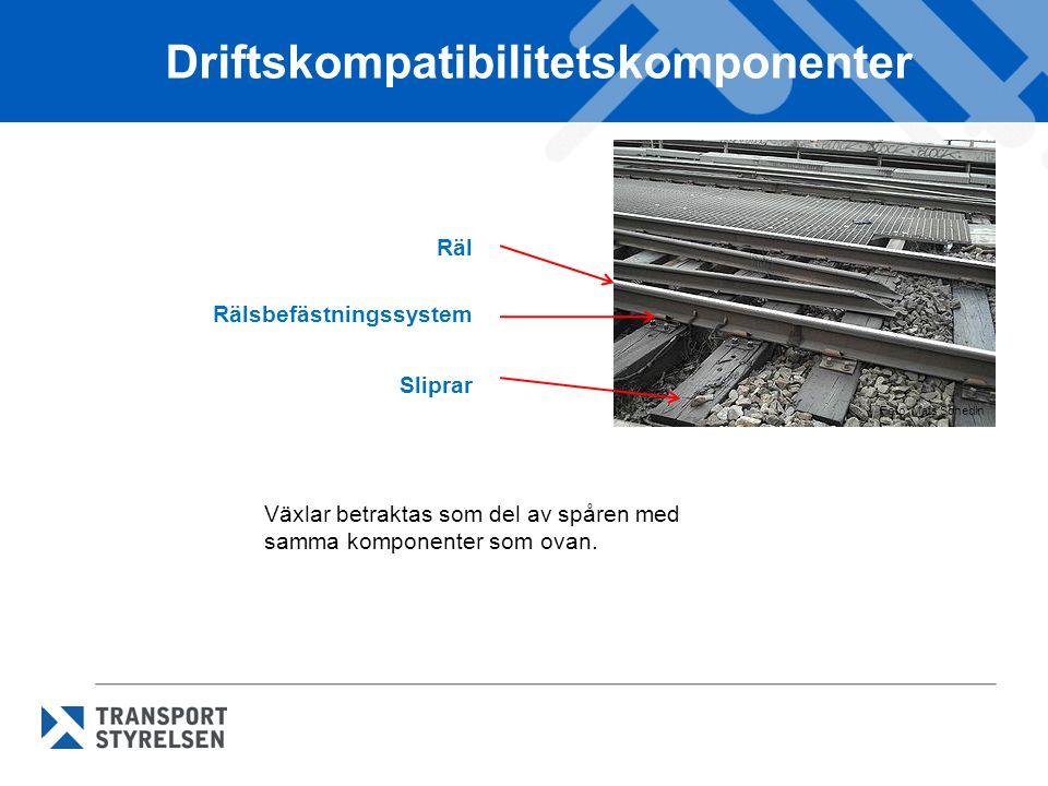 Driftskompatibilitetskomponenter Räl Rälsbefästningssystem Sliprar Foto: Mats Schedin Växlar betraktas som del av spåren med samma komponenter som ova