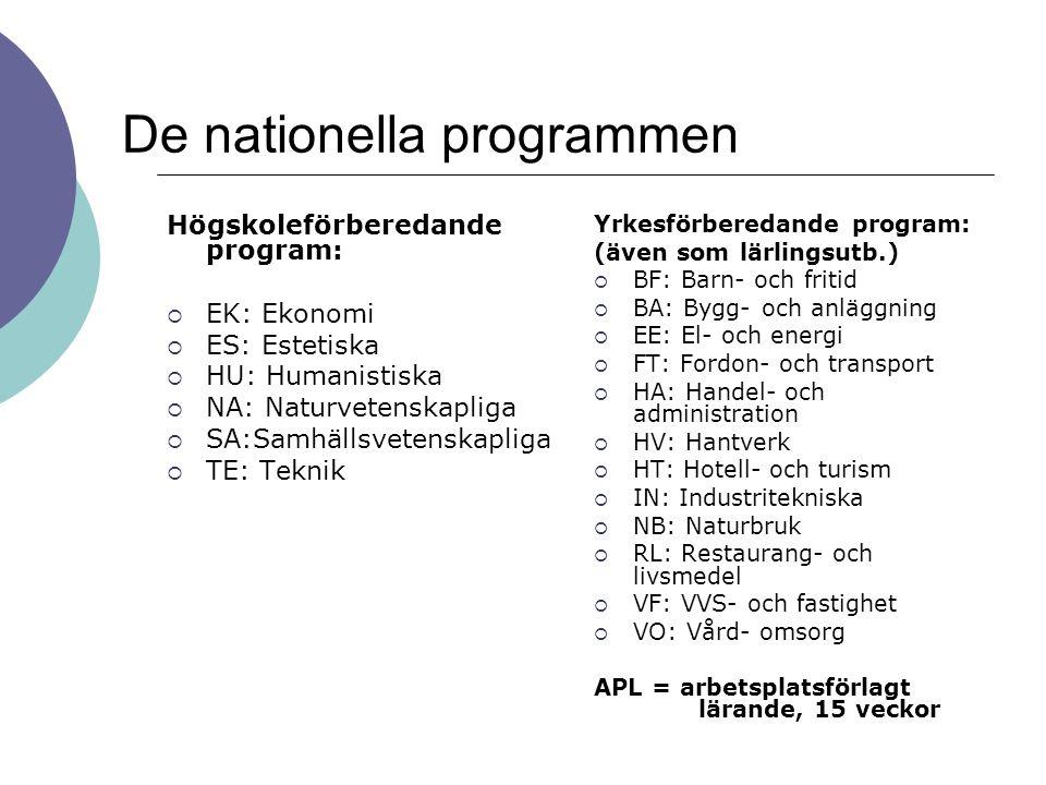 De nationella programmen Högskoleförberedande program:  EK: Ekonomi  ES: Estetiska  HU: Humanistiska  NA: Naturvetenskapliga  SA:Samhällsvetenska