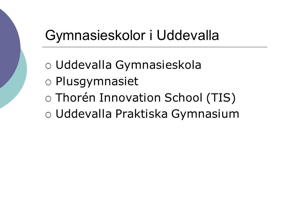 Gymnasieskolor i Uddevalla  Uddevalla Gymnasieskola  Plusgymnasiet  Thorén Innovation School (TIS)  Uddevalla Praktiska Gymnasium